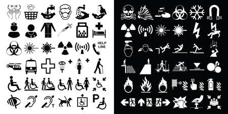 volatile: Medical healthcare and hazard warning related icon collection
