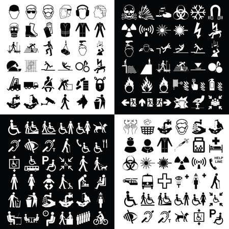pueblo de advertencia de peligro de construcción obligatorios y colección de iconos relacionados con la asistencia sanitaria médica aislados sobre fondos blancos y negros Ilustración de vector