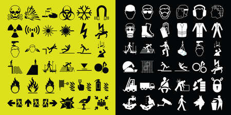 volatile: Mandatory construction health and safety and hazard warning related monochrome icon collection isolated on white background Illustration