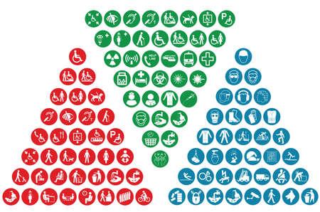colección de iconos relacionados con la salud obligatoria la construcción y cuidado de la salud y la seguridad de personas Ilustración de vector