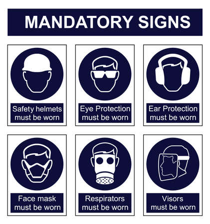 safety equipment: Mandatory safety sign set isolated on white background