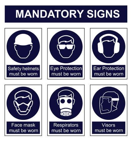elementos de protección personal: Obligatorios establecidos señal de seguridad aislado en el fondo blanco