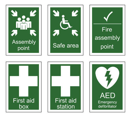 First aid and assembly sign set isolated on white background