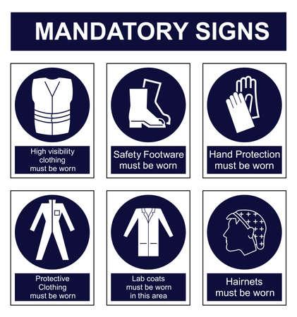 señales de seguridad: Obligatorios establecidos señal de seguridad aislado en el fondo blanco