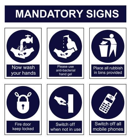 manos limpias: Obligatorios establecidos señal de seguridad aislado en el fondo blanco