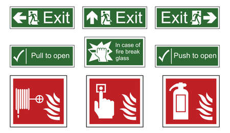 escape route: Fire and emergency exit sign set isolated on white background