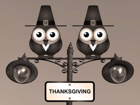 roost: Sepia Thanksgiving comical Pilgrim Father birds perched on a lamppost