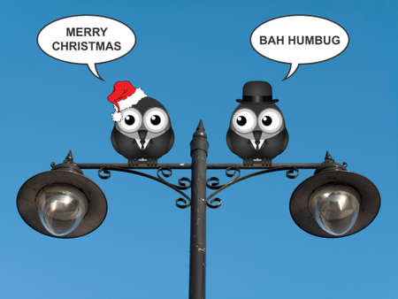 Comical birds with the two sides of Christmas perched on a lamppost against a clear blue sky Stock Photo