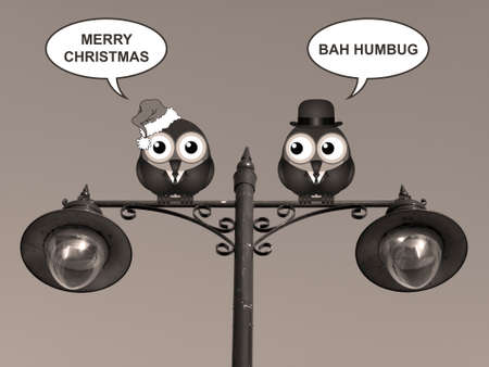 Sepia comical birds with the two sides of Christmas perched on a lamppost Stock Photo