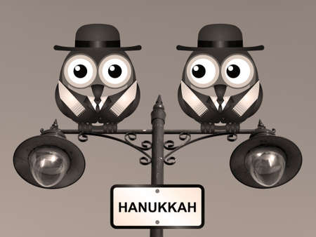 rabi: Sepia Hanukkah The Festival of Lights with Jewish Rabi birds perched on a lamppost Stock Photo