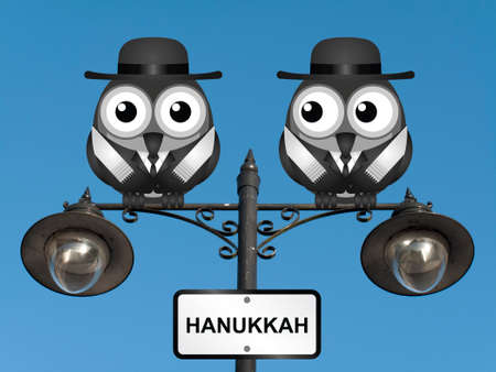 rabi: Hanukkah The Festival of Lights with Jewish Rabi birds perched on a lamppost against a clear blue sky Stock Photo