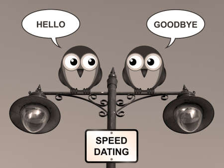 speed dating: Sepia comical speed dating birds perched on a lamppost