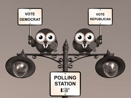 electioneering: Sepia comical Democrat and Republican bird politicians perched on a lamppost Stock Photo