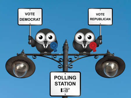 electioneering: Comical Democrat and Republican bird politicians perched on a lamppost against a clear blue sky