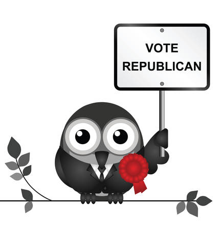 electioneering: Comical Republican bird politician perched on a branch isolated on white background