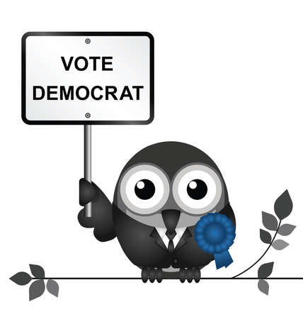 electioneering: Comical Democrat bird politician perched on a branch isolated on white background