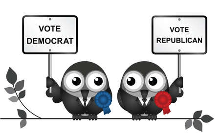 electioneering: Comical Democrat and Republican bird politicians perched on a branch isolated on white background