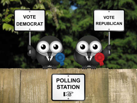 electioneering: Comical Democrat and Republican bird politicians perched on a wooden fence