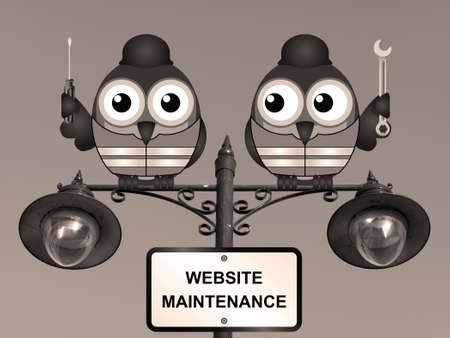 roost: Sepia comical website maintenance bird engineers perched on a lamppost