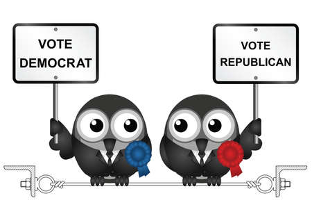 electioneering: Comical Democrat and Republican bird politicians perched on a steel wire connected to rolled steel angles isolated on white background