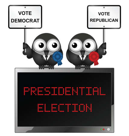 electioneering: Comical bird candidates for the USA Presidential election isolated on white background Illustration
