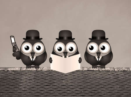 sell shares: Sepia comical business city trader birds perched on a rooftop