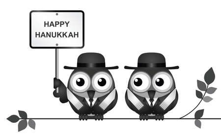 Jewish Hanukkah Festival of Lights or Feast of Dedication with Jewish Rabi birds perched on a branch isolated on white background