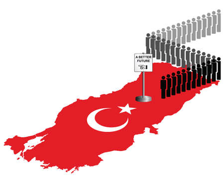 exile: Representation of the Republic of Turkey economic and refugee migration queuing for a better future isolated on white background
