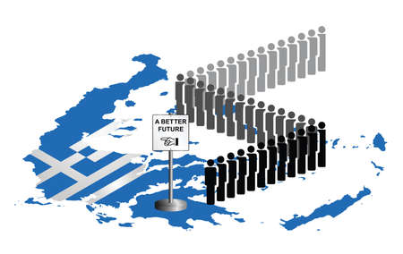 migrant: Representation of the Hellenic Republic of Greece economic and refugee migration crisis with people queuing for a better future isolated on white background Illustration