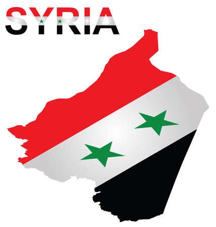 uprising: Isometric flag of Syrian Arab Republic overlaid on outline map with flag Syria text isolated on white background Illustration
