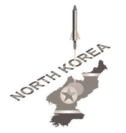 ballistic: Sepia North Korea officially the Democratic Peoples Republic of Korea with flag overlaid on country name text with missile launch isolated on white background