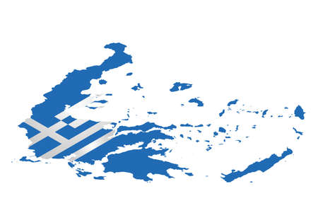 hellenic: Isometric flag of the Hellenic Republic overlaid on detailed outline map isolated on white background