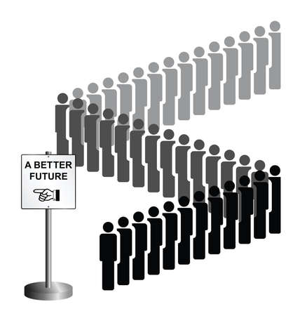 exile: Representation of economic migrants and refugee migration with people queuing for a better future isolated on white background