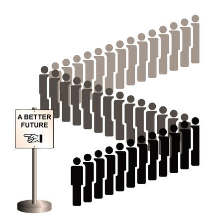 refugee: Sepia representation of economic migrants and refugee migration with people queuing for a better future isolated on white background Stock Photo
