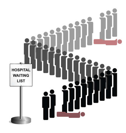 queuing: Representation of people dying whilst on the hospital treatment waiting list due to healthcare budget cuts and lack of investment isolated on white background