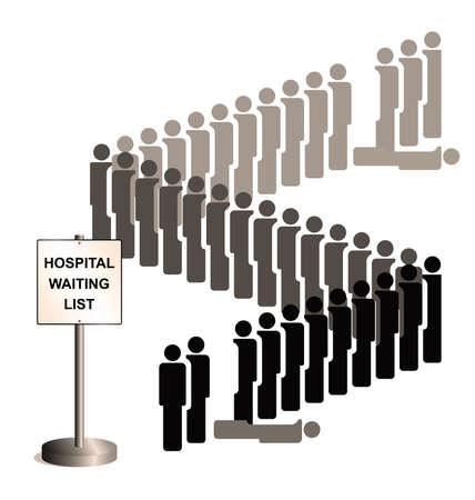 représentation Sépia de personnes qui meurent tandis que sur le traitement de l'hôpital la liste d'attente en raison de compressions budgétaires de soins de santé et le manque d'investissement isolé sur fond blanc