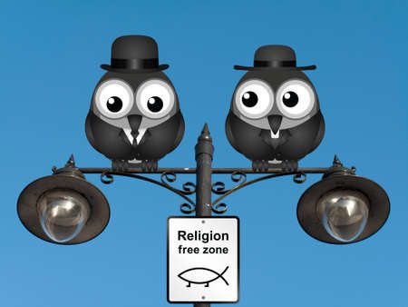 clergy: Comical religion free zone sign with bird vicar perched on a lamppost against a clear blue sky Stock Photo