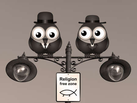 clergy: Sepia comical religion free zone sign with bird vicar perched on a lamppost