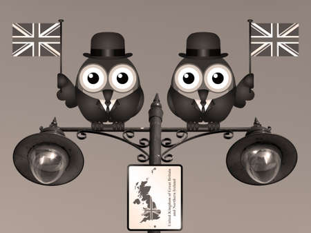 cymru: Sepia comical bird businessmen waving the flag for the United Kingdom perched on a lamppost
