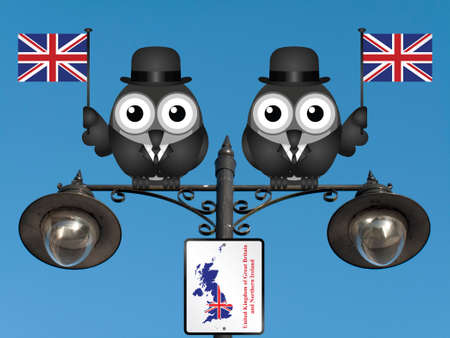 Comical bird businessmen waving the flag for the United Kingdom perched on a lamppost against a clear blue sky