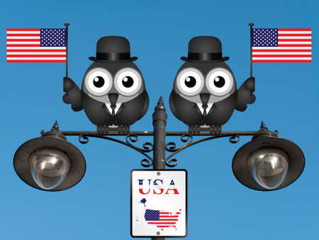 comical: Comical bird businessmen waving the flag for the United States of America perched on a lamppost against a clear blue sky Stock Photo