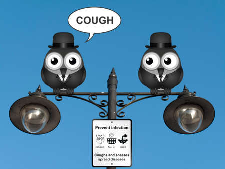 contagious: Comical flu and cold prevention sign with birds perched on a lamppost against a clear blue sky