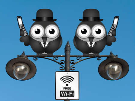 roost: Comical birds on their mobile phone utilising free Wi Fi perched on a lamppost against a clear blue sky