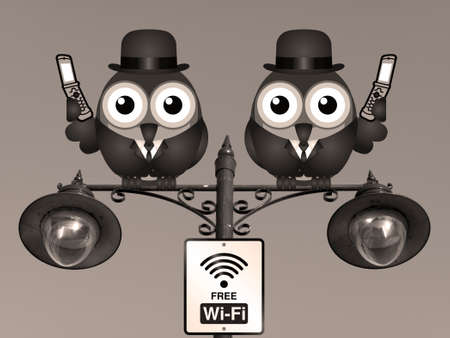 mobile cellular: Sepia comical birds on their mobile phone utilising free Wi Fi perched on a lamppost