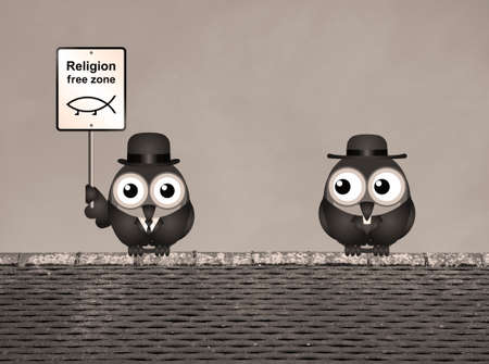 catholicism: Comical religion free zone sign with bird vicar perched on a rooftop against a clear blue sky