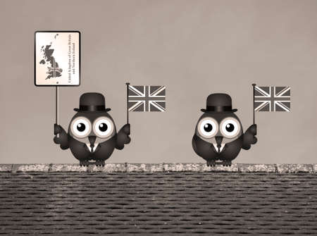 cymru: Sepia comical bird businessmen waving the flag for the United Kingdom perched on a rooftop Stock Photo