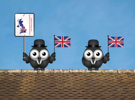 cymru: Comical bird businessmen waving the flag for the United Kingdom perched on a rooftop against a clear blue sky