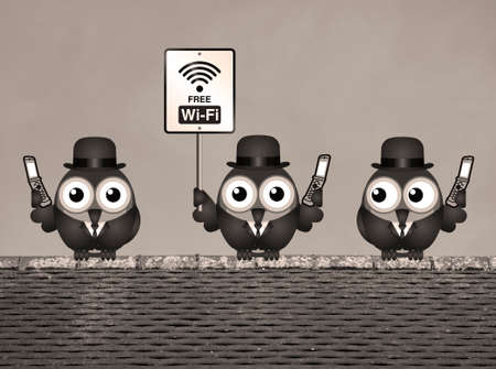 roost: Sepia comical birds on their mobile phone utilising free Wi Fi perched on a rooftop