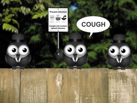contagion: Comical flu and cold prevention sign with birds perched on a timber garden fence against a foliage background