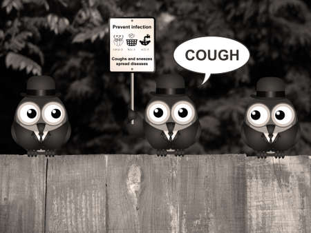 contagious: Sepia comical flu and cold prevention sign with birds perched on a timber garden fence against a foliage background Stock Photo
